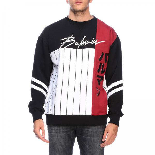 Balmain crewneck jumper with signature and contrasting stripes
