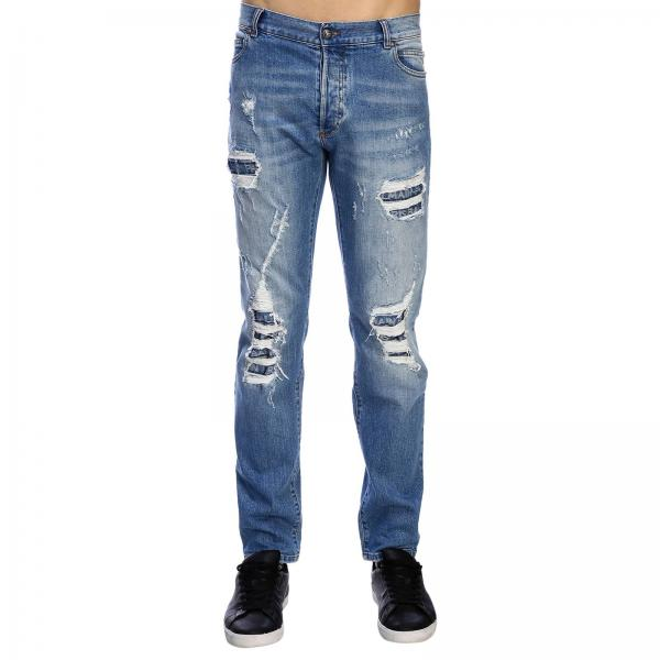 Balmain slim fit jeans with used effect denim with maxi breaks and logoed patches