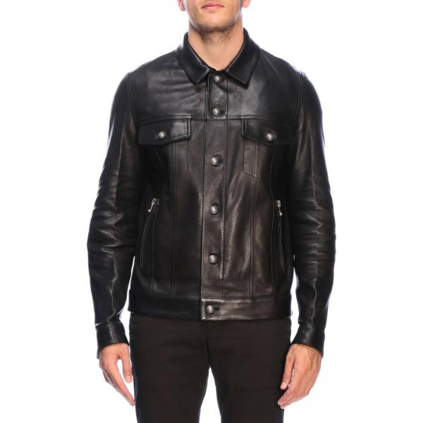 Balmain jacket in leather with signature