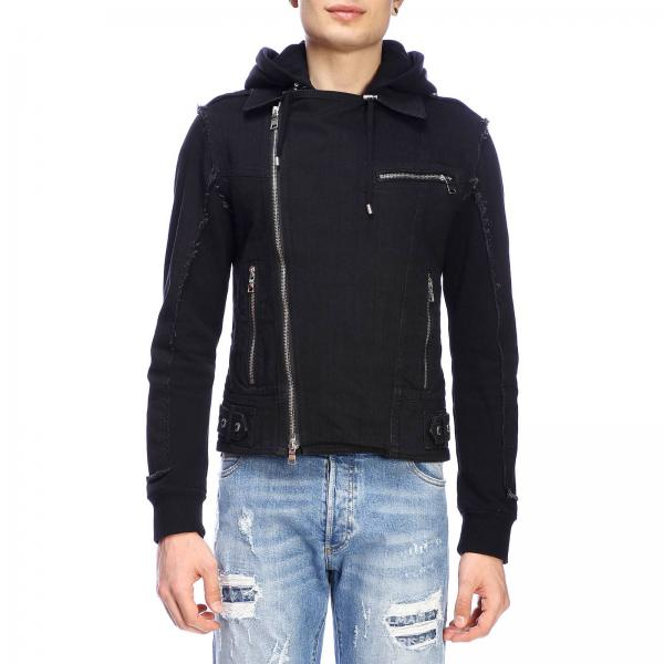 Balmain full zip denim jacket with hood and signature