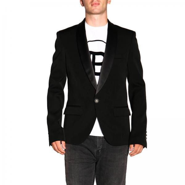 Single-button Balmain blazer with one button and satin lapels