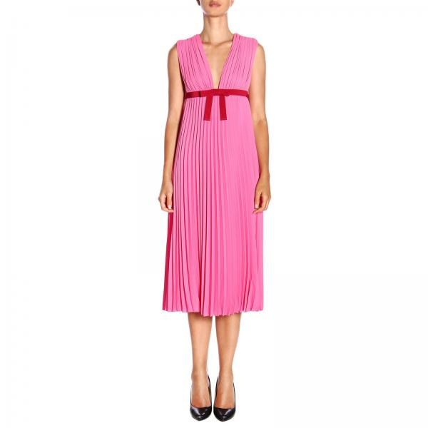 Red Valentino long dress in pleated fabric with contrasting bow