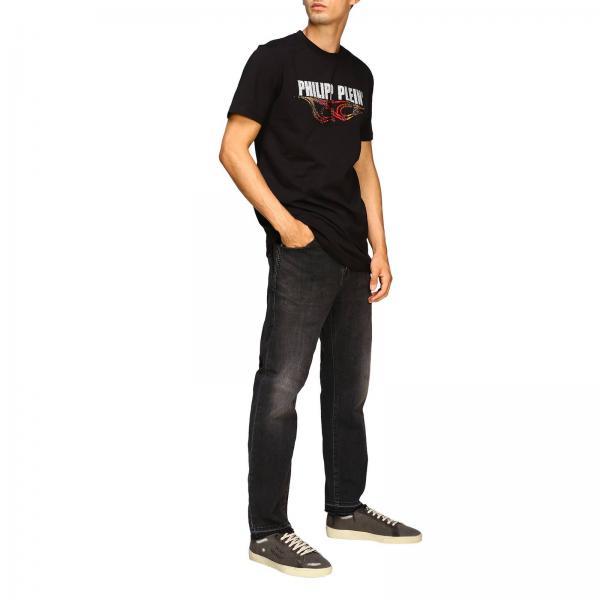 Mtk3662 Philipp Con Girocollo Maxi Logo Uomo E shirt PleinA Di T Strass Pjy002n Fiamme wPkZ8nON0X