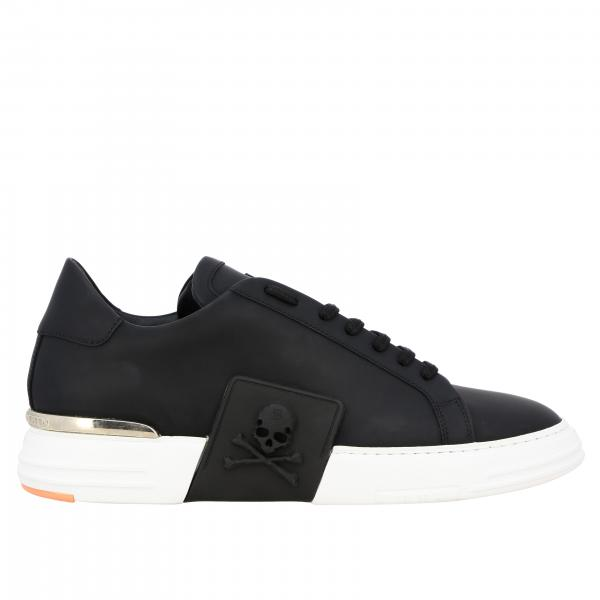Lo-top Original Philipp Plein lace-up Sneakers  in leather with maxi hexagonal PP monogram