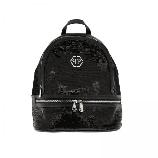 Philipp Plein backpack in leather and sequins with hexagonal monogram and zip