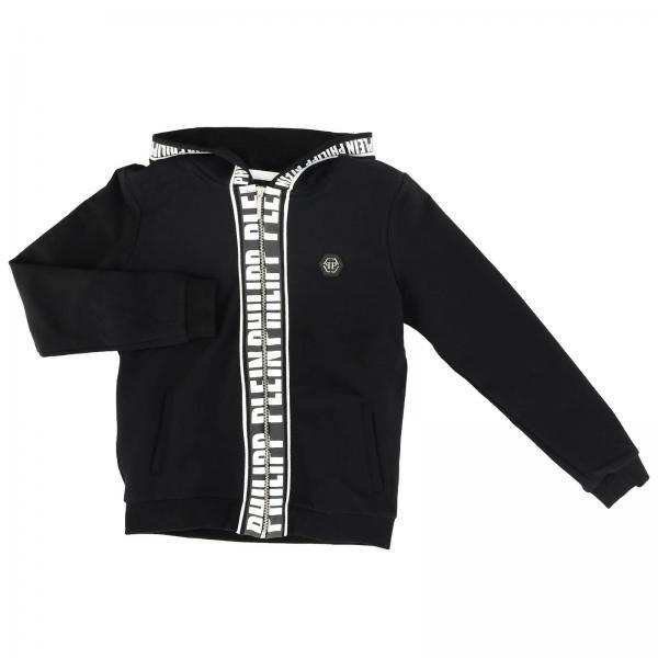 Kapuzen-Sweatshirt mit Reißverschluss und Strass-Totenkopf auf der Rückseite