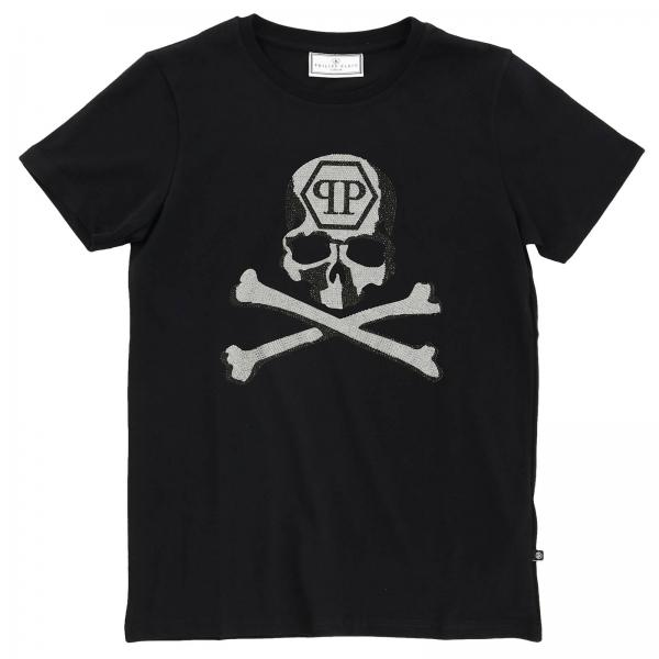 Philipp Plein T-Shirt mit Rundhalsausschnitt und Maxi-Strass-Totenkopf