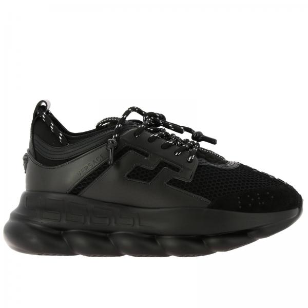 Versace Chain reaction leather Sneakers with macro padded mesh