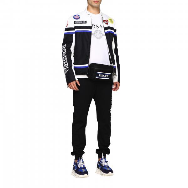 Marsupio Uomo Con Versace Nylon Dfb7096 Dnynv NeroIn Logo kn80OwP