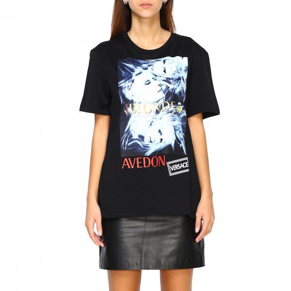 T-shirt Versace a maniche corte con maxi stampa