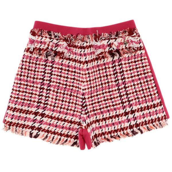 Bimateriale shorts check sfrangiato