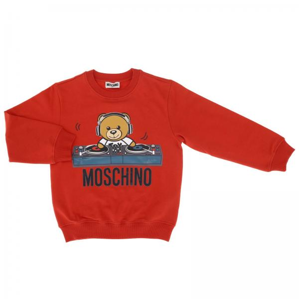Crewneck sweatshirt with long sleeves and Teddy Moschino dj logo