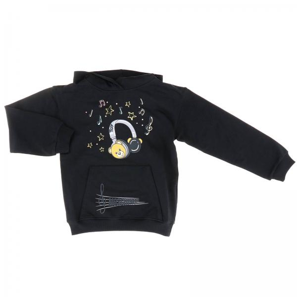 Moschino Kid sweatshirt with hood and dj Teddy print