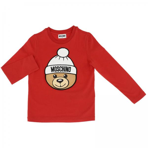 Moschino Kid long-sleeved T-shirt with maxi Teddy patch