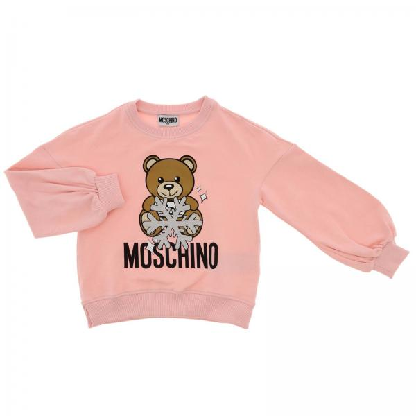 Crewneck sweatshirt with long sleeves and Teddy Moschino snow logo
