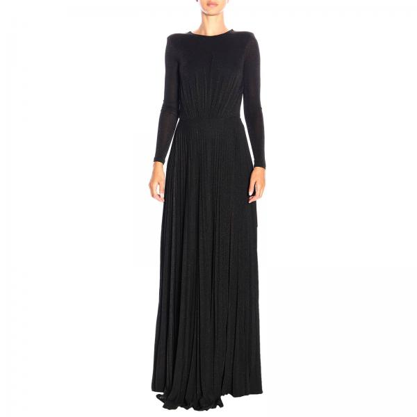 Elisabetta Franchi long dress in lurex fabric with chain
