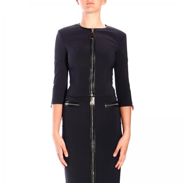 Elisabetta Franchi crew-neck jacket in bi-elastic fabric with central zip