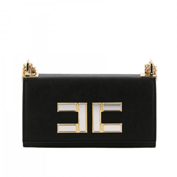 Borsa mini a tracolla Elisabetta Franchi in pelle sintetica con logo specchiato