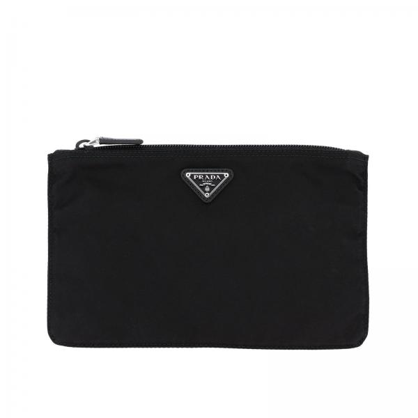 Beauty Case a pochette small Prada in nylon con logo triangolare