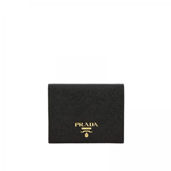 Saffiano leather Wallet with Prada metal logo and coin holder