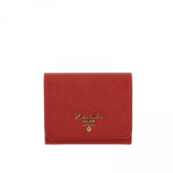 Small wallet in saffiano leather with metallic Prada logo