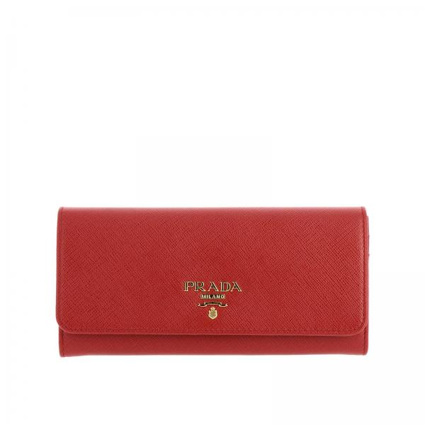 Continental saffiano leather wallet with metallic Prada logo