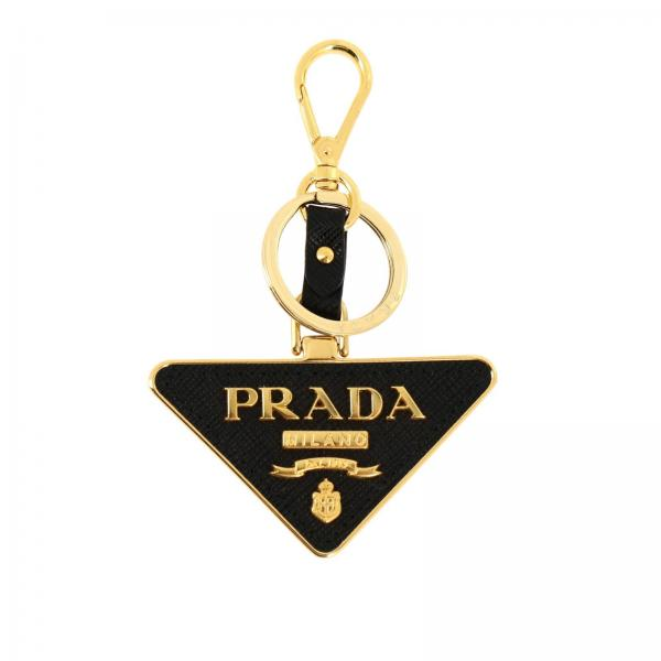 Prada triangular key ring in metal and saffiano leather