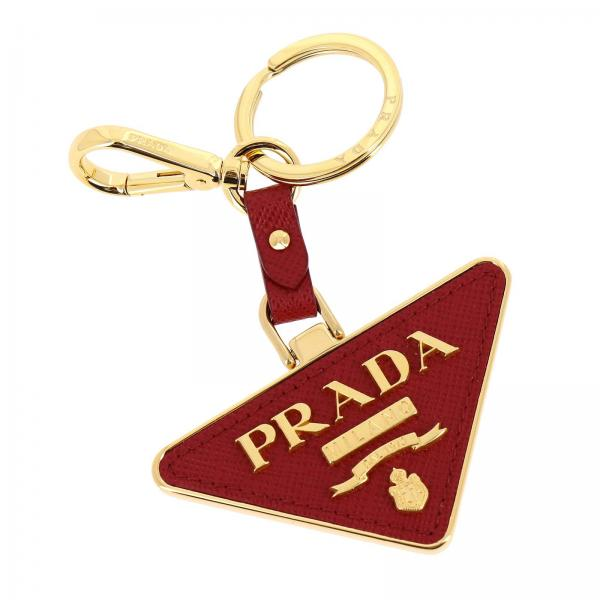 Prada triangular metal and saffiano leather key ring