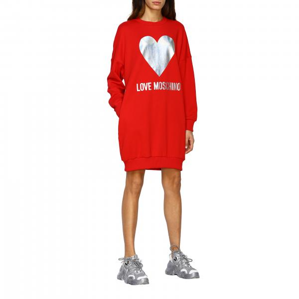 Love Moschino logo装饰长袖连衣裙
