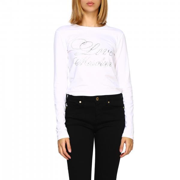 T-shirt Love Moschino a maniche lunghe con maxi logo di strass