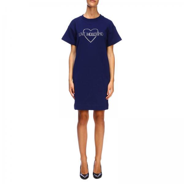 Love Moschino Kleid mit Strass Logo