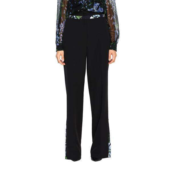 Pantalone Blumarine ampio con bordi a fantasia floreale