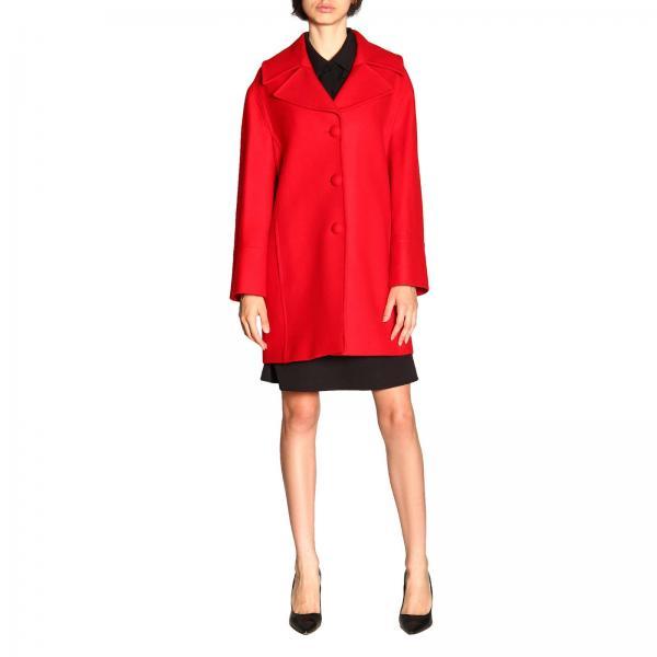 Cappotto Blumarine a monopetto in panno di lana con martingala