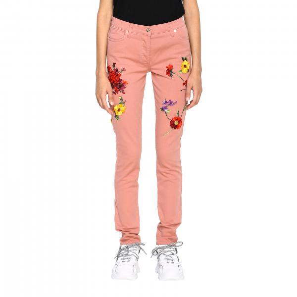 Jeans Blumarine in denim stretch regular fit con fiori