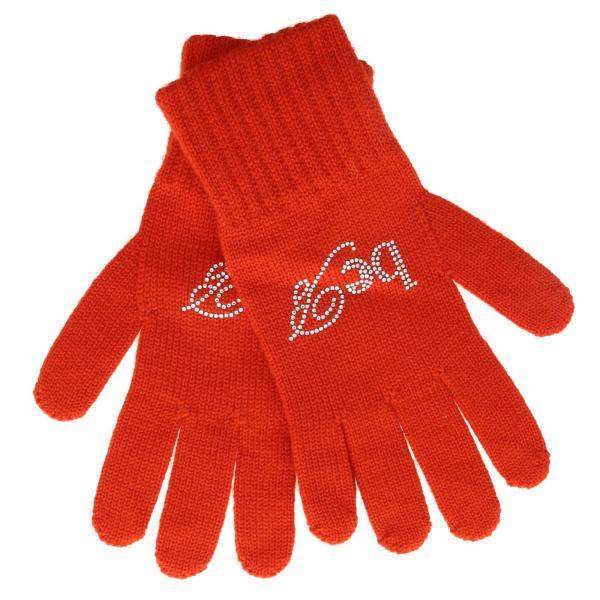 Guanti Be Blumarine in lana con logo di strass