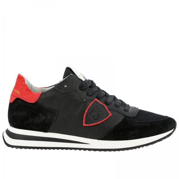 Philippe Model Tropez 尼龙绒面革对比色网眼细节系带运动鞋