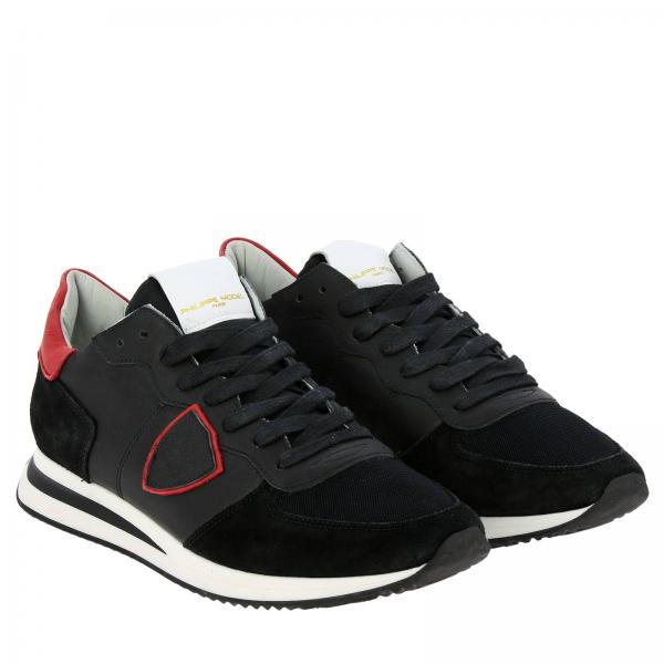 Sneakers Uomo Philippe Model Nero | Sneakers Tropez X Philippe Model Stringata In Pelle Camoscio E Micro Rete Con Dettagli A Contrasto | Sneakers Philippe Model Tzlu Xv03