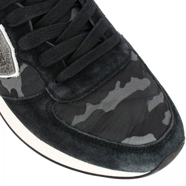 Sneakers Uomo Philippe Model Antracite | Sneakers Tropez X Philippe Model Stringata In Nylon Camouflage E Camoscio Con Dettagli A Contrasto | Sneakers Philippe Model Tzlu Cf01