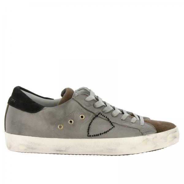 Philippe Model Paris 做旧光滑真皮绒面革logo装饰系带运动鞋