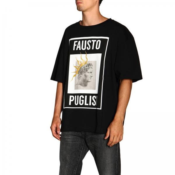 T NeroA Con Fpu7189 Stampa Fausto shirt Maxi Uomo By Puglisi Corte P0516 Maniche nw8OX0kNZP