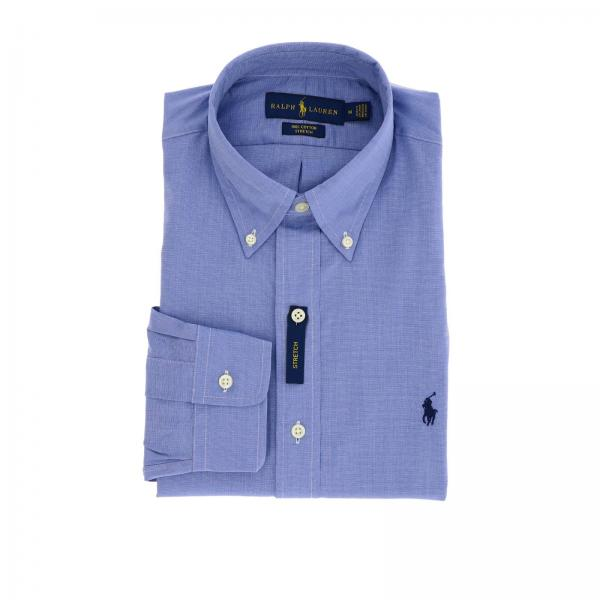 Slim-fit natural stretch shirt with button-down collar and Polo Ralph Lauren logo