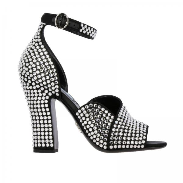 Sandalo Prada open toe con cristalli all over
