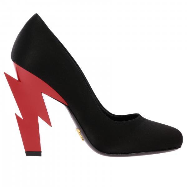 Туфли Prada из шелка на фигурном каблуке