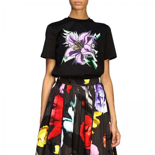 Prada jersey T-shirt with flower print