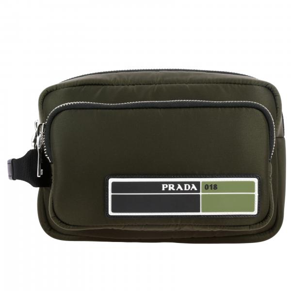 Beauty case Prada in nylon con logo in gomma