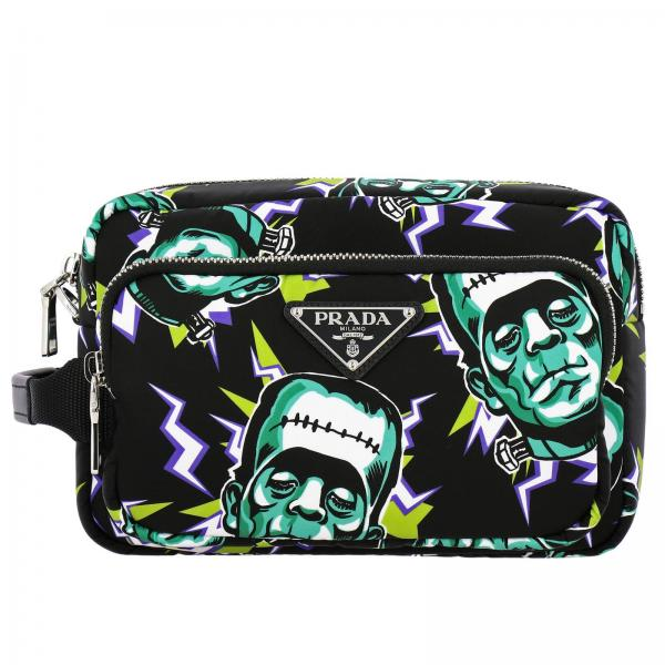 Beauty Case Prada in nylon con stampa Frankenstein all over
