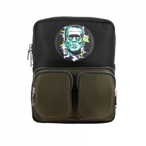 Prada Rucksack aus Nylon mit durchgehendem Reißverschluss und Frankenstein-Patch