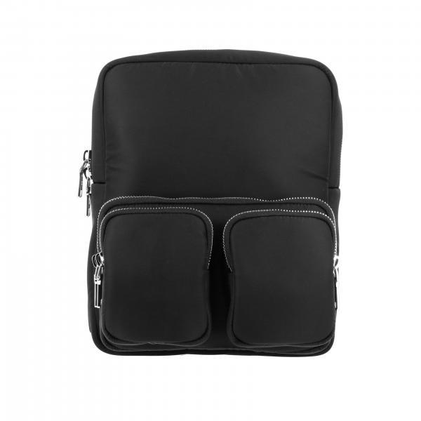 Prada Rucksack aus Nylon mit durchgehendem Reißverschluss und Gummi-Logo