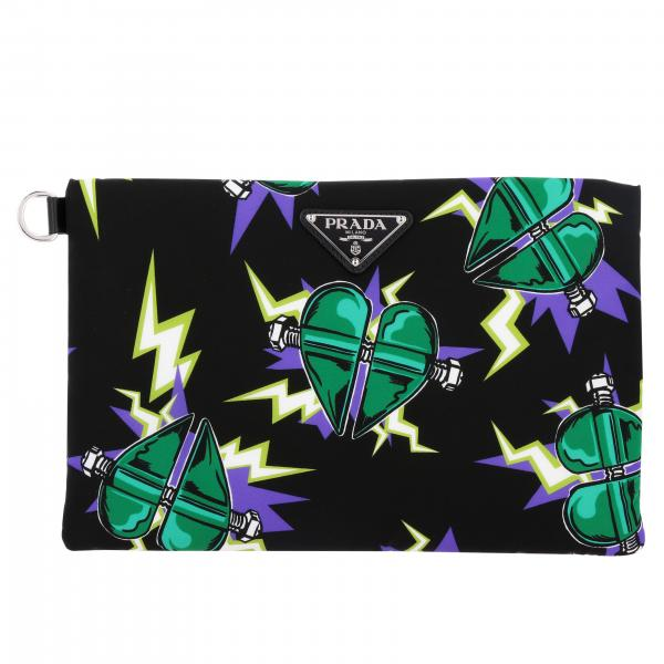 Pochette Prada in nylon con stampa Frankenstein all over