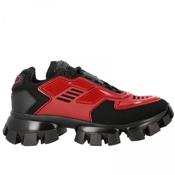 Sneakers Cloudbust thunder Prada stringata in pelle gomma e micro rete bicolor